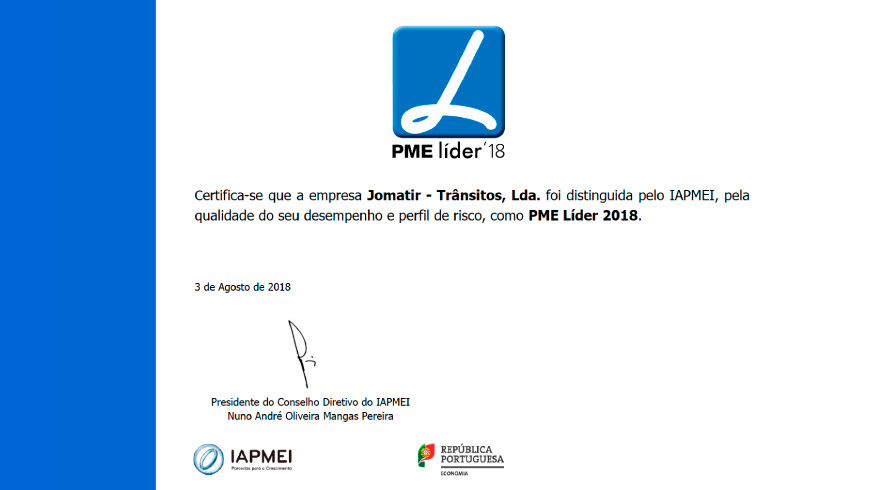 JOMATIR recently obtained the renewal of its status as SME Leader (2018). This distinction is awarded ...